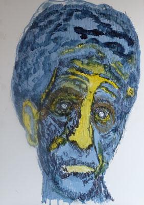 """Portrait """"Paolo Giacometti"""" 2018,  Acryl und Tusche auf HDF in 50x70"""