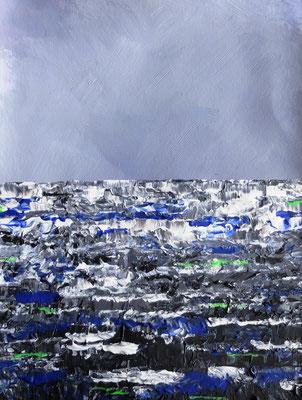 Horizont über dunkler See, Acryl auf Leinwand in 24x31, (04/2017)
