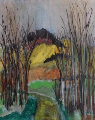 Eifel Landschaft Oberehe Acryl und Tusche auf LW in 50x40