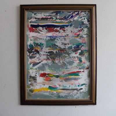 07 2019, Abstraktes Bild in altem Rahmen vom Trödel, Bild 100x76, Acryl auf Karton