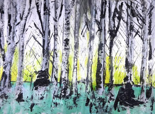 Birkenwäldchen, Acryl auf Papier in 24x31, 2013