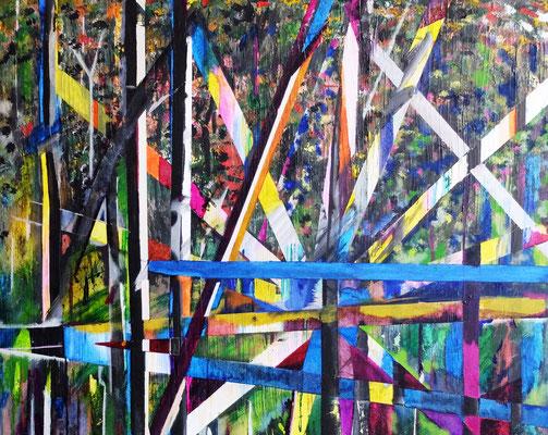 """""""Lost in Auwald"""" Zyklus Birkenwäldchen 09 2018 , Acryl und Tusche auf LW in 100x80 (Acryllic and Ink on canvas in 100x80)"""