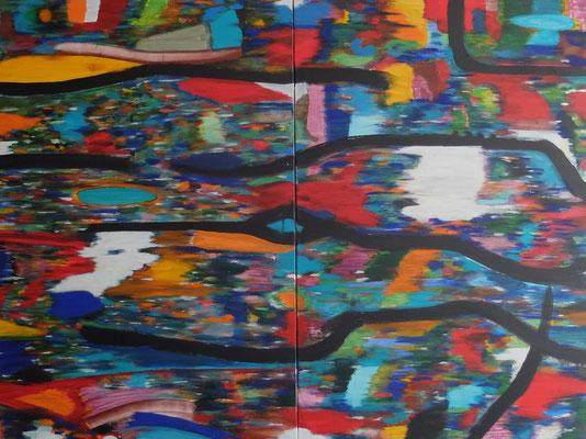 Painting 03 2021 (Februar 2021) Acryl und Tusche auf LW in 150x200 (2x150x100)