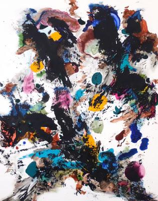 28062020 Abstract Worlds o.T. Acryl und Pigmente auf LW in 100x80