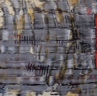 2019 o.T. Acryl und Goldspray in 50x50 auf Hartpappe