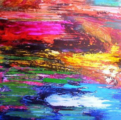 Abstrakte Landschaft (Acryl und Tusche auf Alu Bond in 30x30)