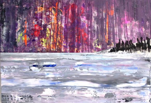 Feuer und Eis / Fire and Ice , Acryl auf Holzplatte (Ulmer Malgrund) in 80x120 (reserviert)