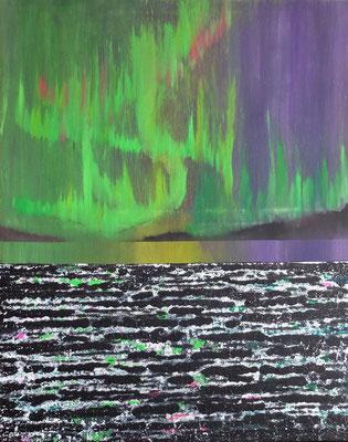 """Zyklus Horizonte, """"Polarlichter über Horizont"""", Acryl auf Leinwand 80x100 (05/2017)    >> reserviert"""