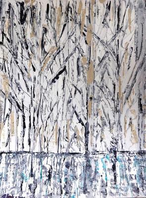 Birkenwäldchen Abstraktion, Acryl auf Papier in 24x31, 04/2013
