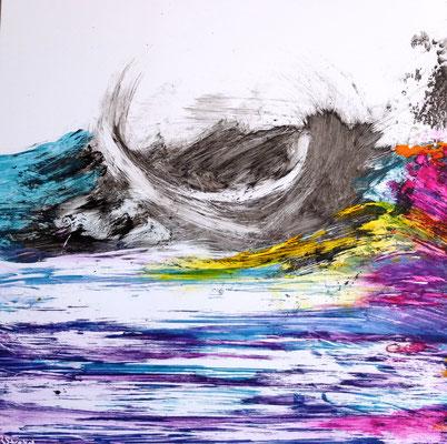 Unruhige See (Acryl und Tusche auf alu Bond) - als Geschenk zur Geburt von Mara Quintero -