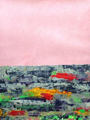 Horizont mit rosa Himmel, Acryl auf Papier in 24x31 (06/2017)