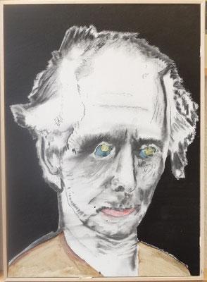 Portrait Max Ernst   01 2018 in Leipzig KP1  Kohle, Tusche auf HDF in 70x50 gerahmt (Schattenfuge)