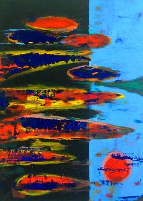 """""""Abstract Worlds"""" , Acryl auf LW in 100x70, Testobjekt mit altem Silberrahmen..."""