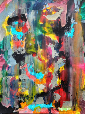Abstrakt, o.T. Acryl auf Papier in 24x31
