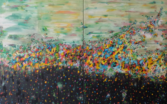 First Paintings 01 2021 (Januar 21) Acryl und Tusche auf LW in 100x160 (2x100x80)
