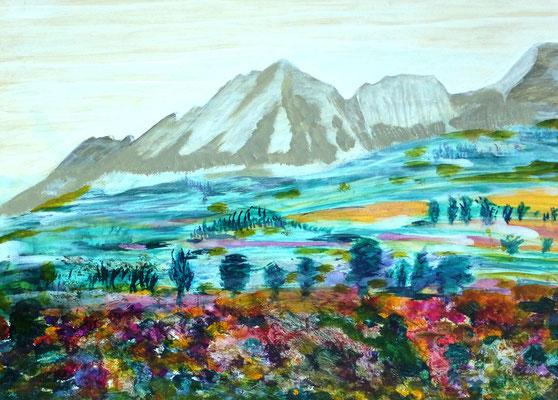 Zyklus Landschaften, Blick von Strobl Alm auf Staufen,  Acryl auf HDF in 70x50, (02/2017)
