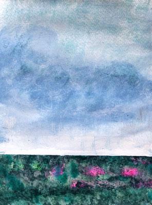 Horizont über grüner Wiese, Acryl auf Papier in 24x31 (06/2017)