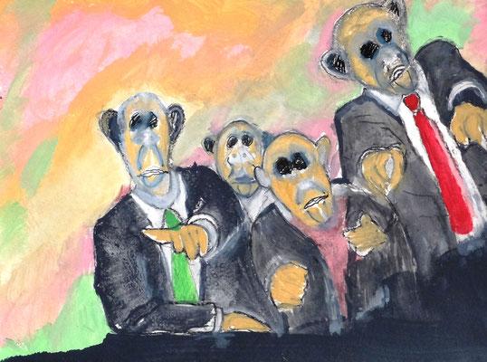 Affen Diskussion,  Acryl auf Papier in 31x24