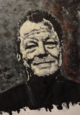 "Portrait ""Willy B.""  Acryl und Mixed Media auf Papier in 24x31    >>> sold"