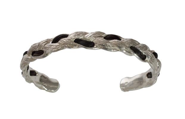 Armreif aus abgeformten Pferdehaar mit eingezogener Echthaarsträhne - aus 925 Sterlingsilber