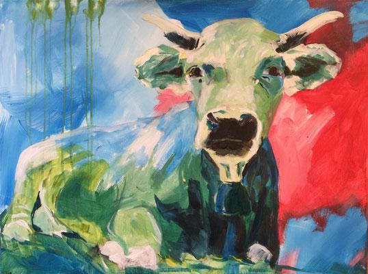 Die Kuh, Acryl auf Leinen, 60 x 80 cm