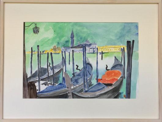 Gondeln in Venedig, Aquarell mit Rahmen und Passepartout, 60 x 80 cm, Fr. 700.-- jetzt Fr. 230.--