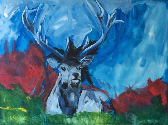 Der Hirsch, Acryl auf Leinen, 60 x 80 cm