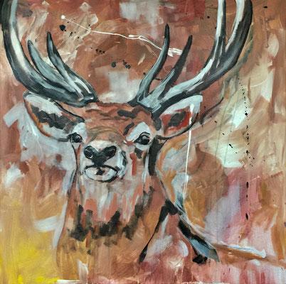 Hirsch, Acryl auf Leinen, 70 x 70 cm