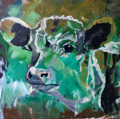 Junge Kuh, Acryl auf Leinen, 60 x 60 cm