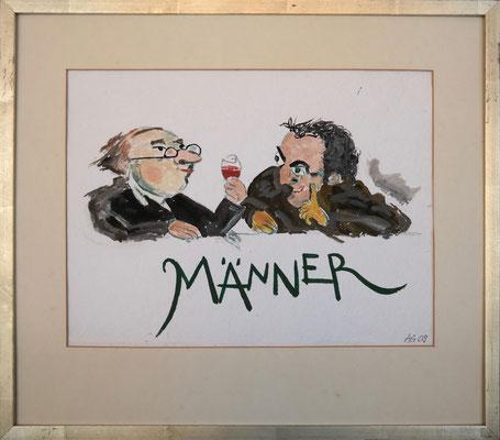 Männer, Aquarell mit Rahmen und Passepartout, ca. 30 x 30 cm, Fr. 80.--