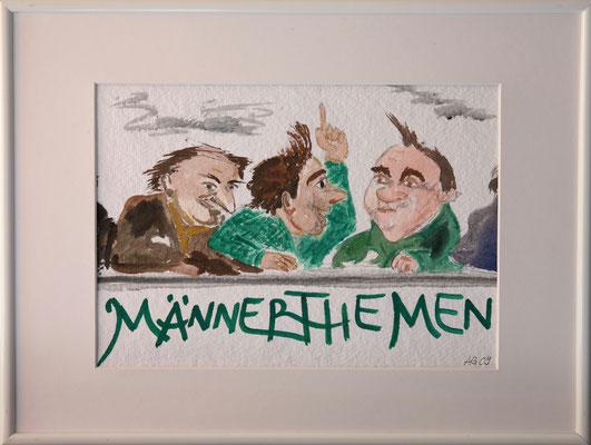 Männerthemen, Aquarell mit Rahmen und Passepartout, ca. 30 x 40cm, Fr. 80.--