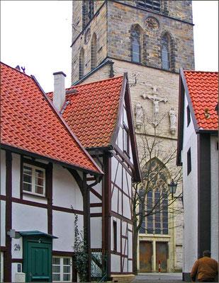 Blick vom Roggenmarkt auf die  St. Christophorus in Werne