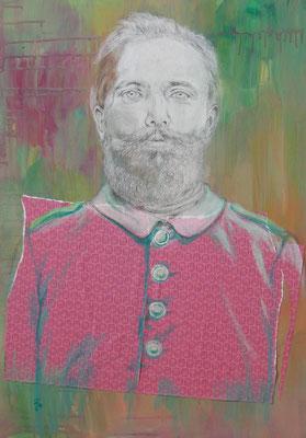 """""""Unbekannter Vorfahr"""",  Mischtechnik auf Leinwand, ca. 70 x 50cm, 2014"""