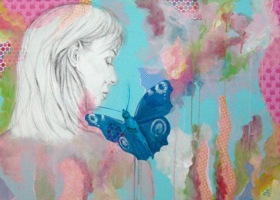 """""""Schmetterling"""", Mischtechnik auf Leinwand, 50 x 70cm, 2015"""