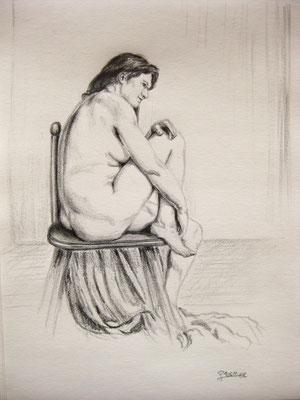 Akt sitzend, Bleistift auf Papier, Dina 4, 2011