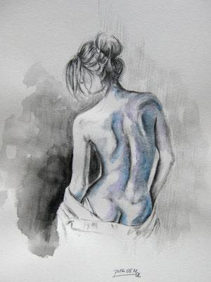 """Akt Rückenansicht"", Mischtechnik auf Papier, Dina 4, 2011, verkauft"