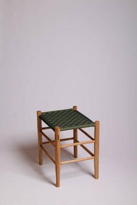 Rahmenhocker aus Roteiche mit eine Bespannung aus Baumwollgurtband #1714