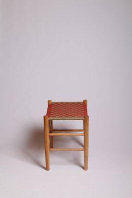 Rahmenhocker aus Roteiche mit eine Bespannung aus Baumwollgurtband #1716