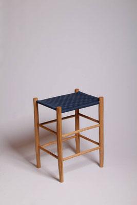 Rahmenhocker aus Roteiche mit eine Bespannung aus Baumwollgurtband #1718