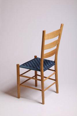 Rahmenstuhl aus Eiche mit Baumwollgurtband