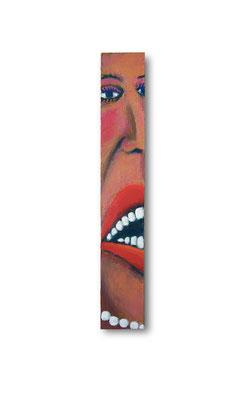 "Lady In Waiting:  3.5 x 22.5 x 1""  acrylic on wood"