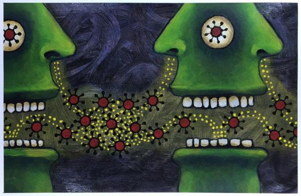 "Super Spreaders / COVID #20  (12x18"" / acrylic on paper)"