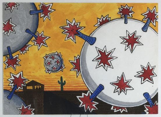 "COVID #3   (5x7"" / watercolor on paper)"