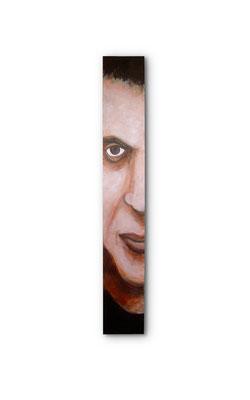 "Hit Man:  3.5 x 24 x 1""  acrylic on wood"