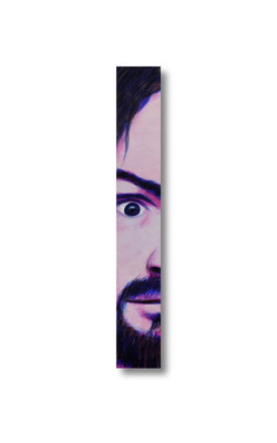 "Family Man/Charles Manson:   3.5 x 24 x 1""  acrylic on wood"