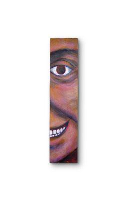 """Smile:  3.5 x 16 x 1""""  Acrylic on wood"""