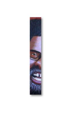 "Dr. Cornelius West:   3.5 x 24 x 1""  acrylic on wood"