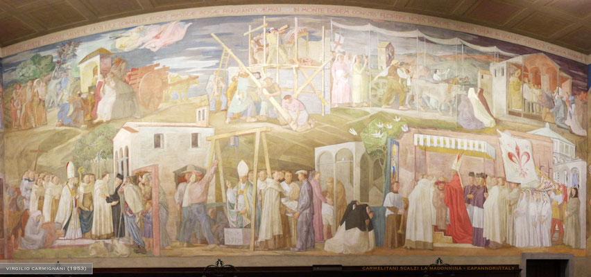 L'affresco del coro che traccia la storia ocd-ocds nel Santuario