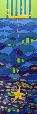 Gruß in die Tiefen . 50 x 150 cm . Acryl mit Metall auf Leinwand*