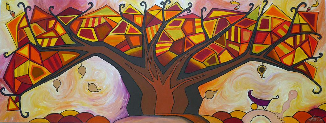 Das Herbstblatt . 160 x 60 cm . Acryl mit Metall auf Leinwand*